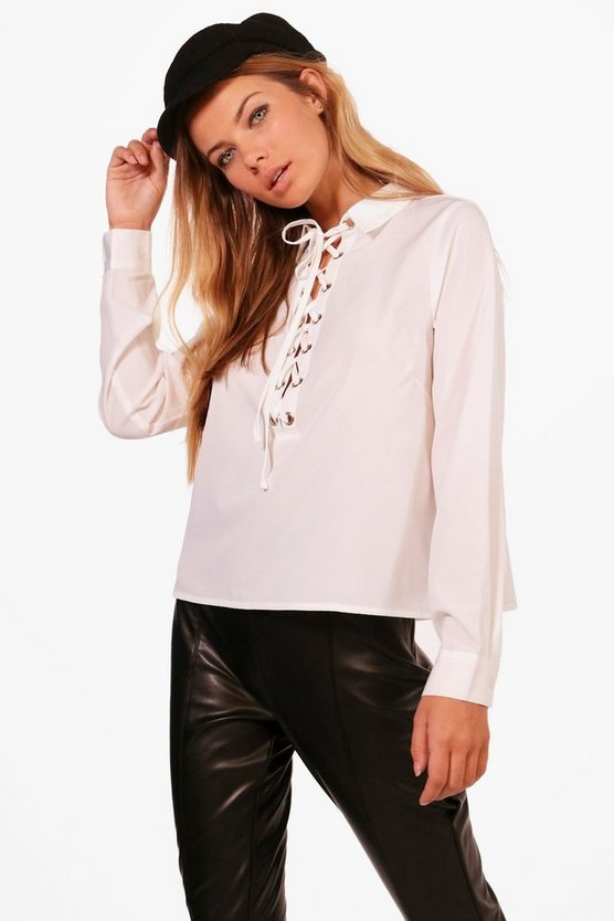 Lace Up Woven Shirt