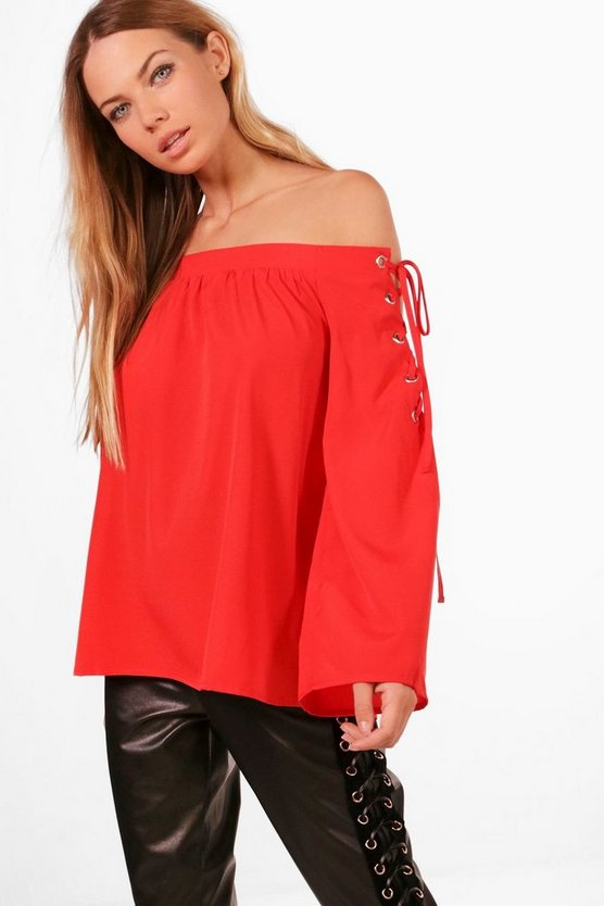 Alexis Lace Up Sleeve Off The Shoulder Top