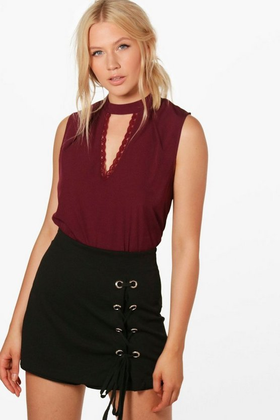 Aaliyah High Neck Plunge Lace Woven Top