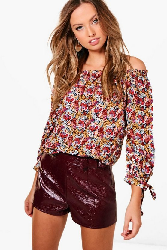 Eva Dark Floral Off The Shoulder Woven Top