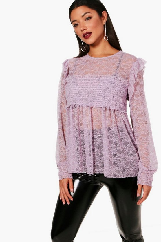 Melanie Lace Shirred Top