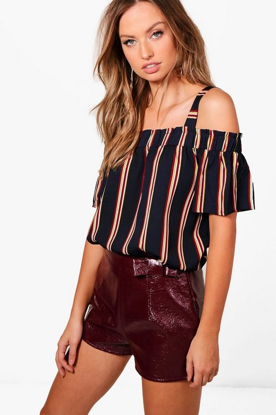 Maya Stripe Cold Shoulder Top