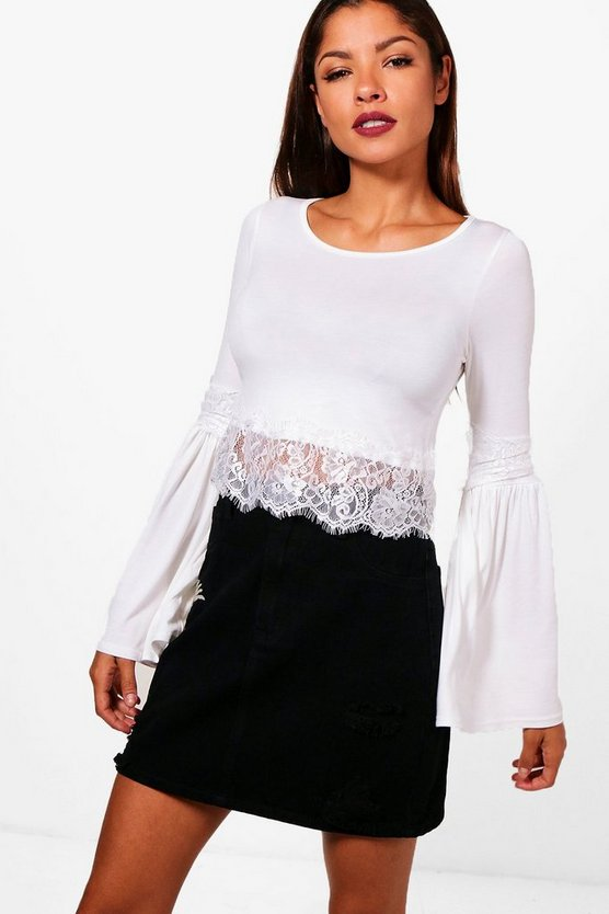 Kyra Lace Trim Flare Sleeve Crop