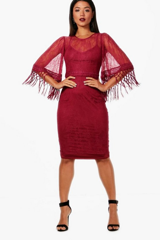Boutique Lace Jossa Tassel Sleeve Midi Dress