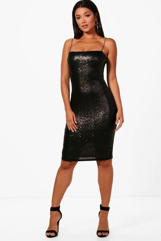 Sequin Strappy Square Neck Midi Dress