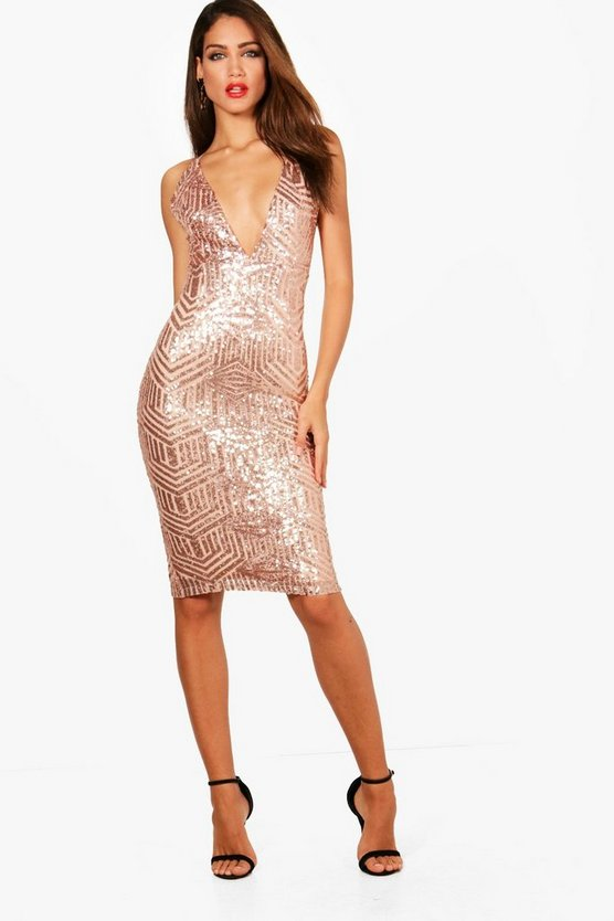 Boutique Sequin Plunge Midi Dress