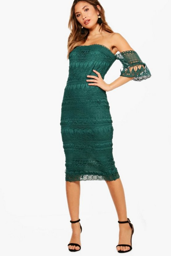Boutique Lace Off the SHoulder Midi Dress