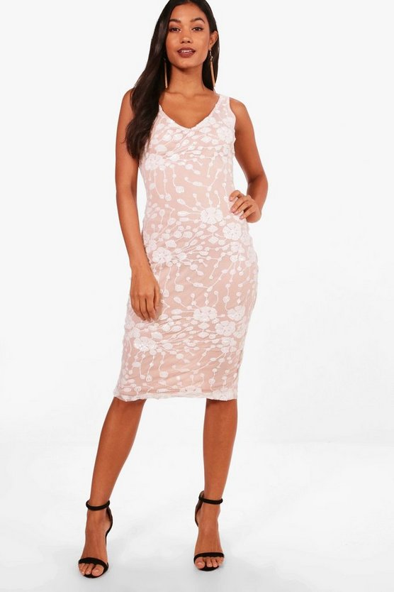 Boutique Floral Sequin Sleeveless Midi Dress