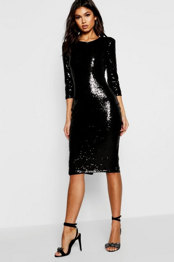 Boutique Sky Sequin Power Shoulder Midi Dress