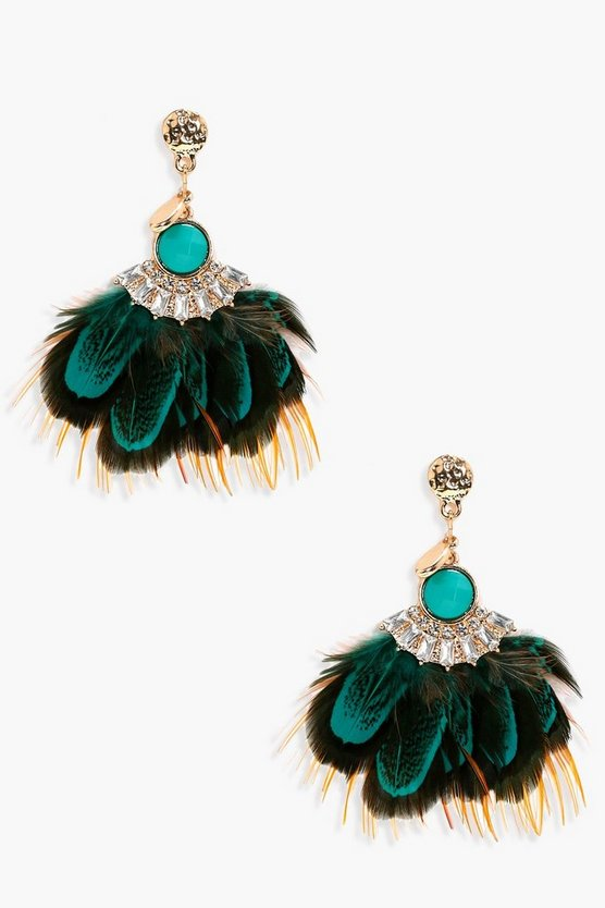 Evie Stone And Feather Statement Earrings