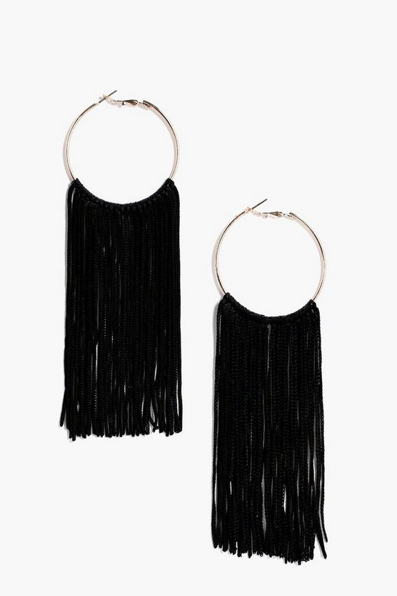Amy Statement Tassel Hoop Earrings