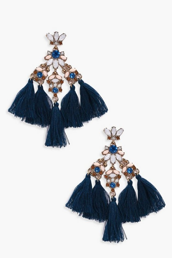 Ella Diamante Gem Statement Tassel Earrings