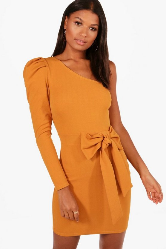 One Shoulder Bow Waist Bodycon Dress