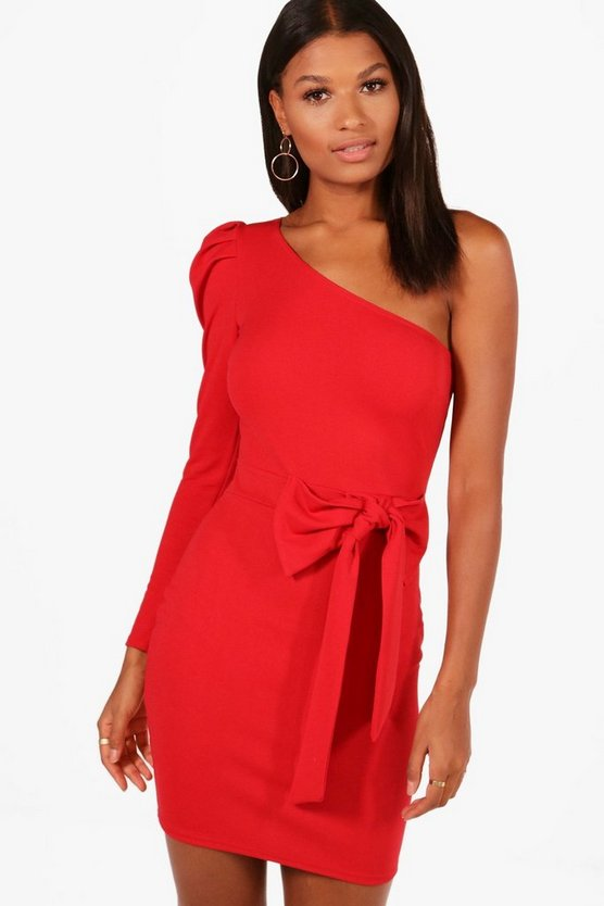 Erin One Shoulder Bow Waist Bodycon Dress