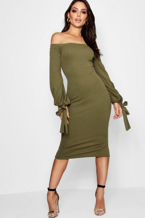Fi Off the Shoulder Blouson Tie Sleeve Dress