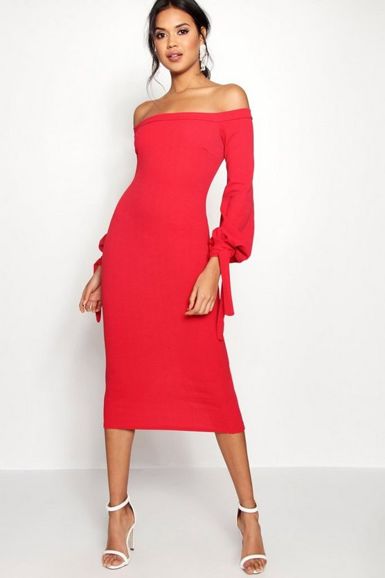 Off the Shoulder Blouson Tie Sleeve Dress