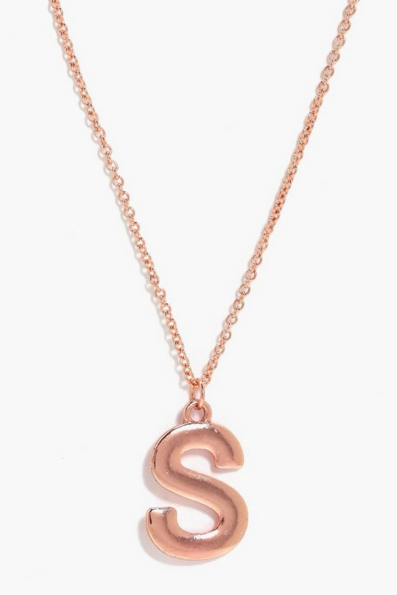 Rose Gold S Initial Charm Necklace