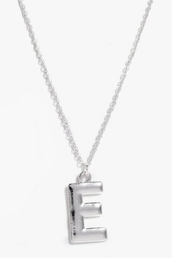 Silver E Initial Charm Necklace