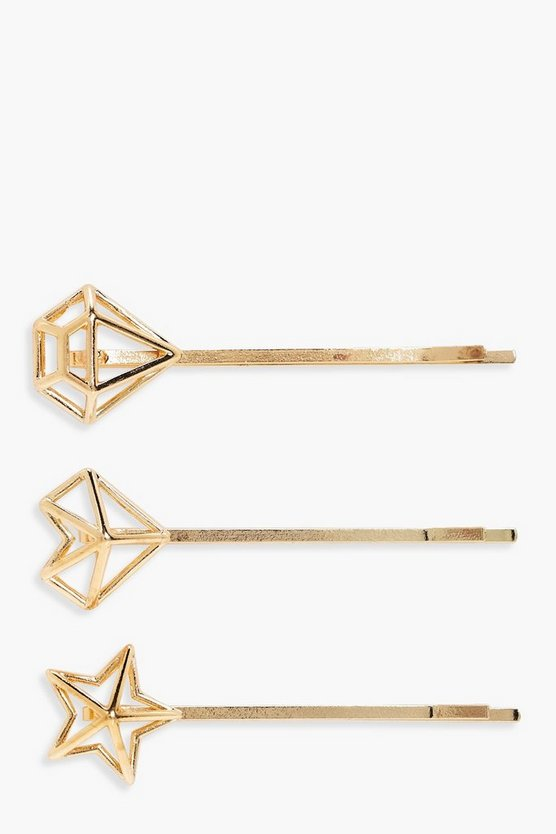 Lucy Star And Crystal Hair Grip 3 Pack