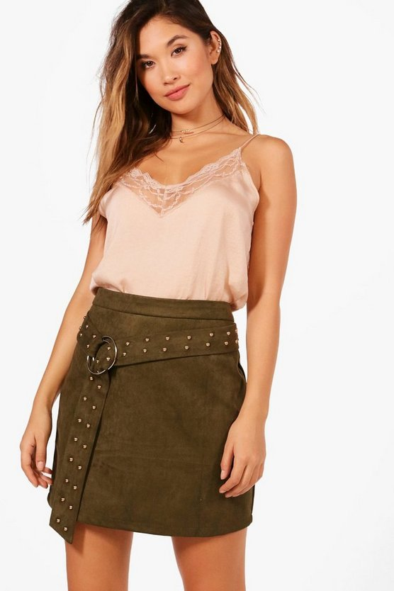 Leah Studded Belt O Ring Suedette Mini Skirt