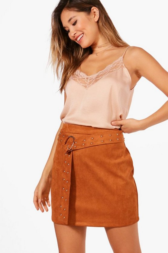 Studded Belt O Ring Suedette Mini Skirt