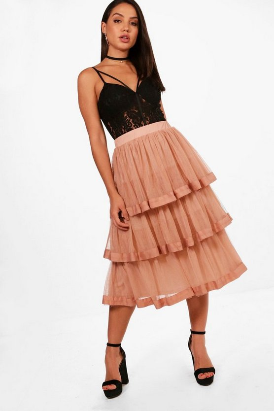 Eleni Tulle Layered Full Midi Skirt