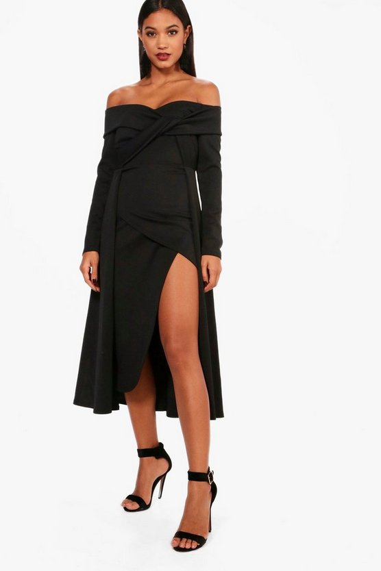 Hannah off Shoulder Wrap Detail Midi Dress