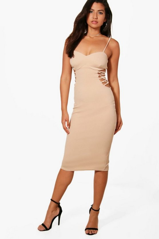 Lace up Side Detail Midi Dress
