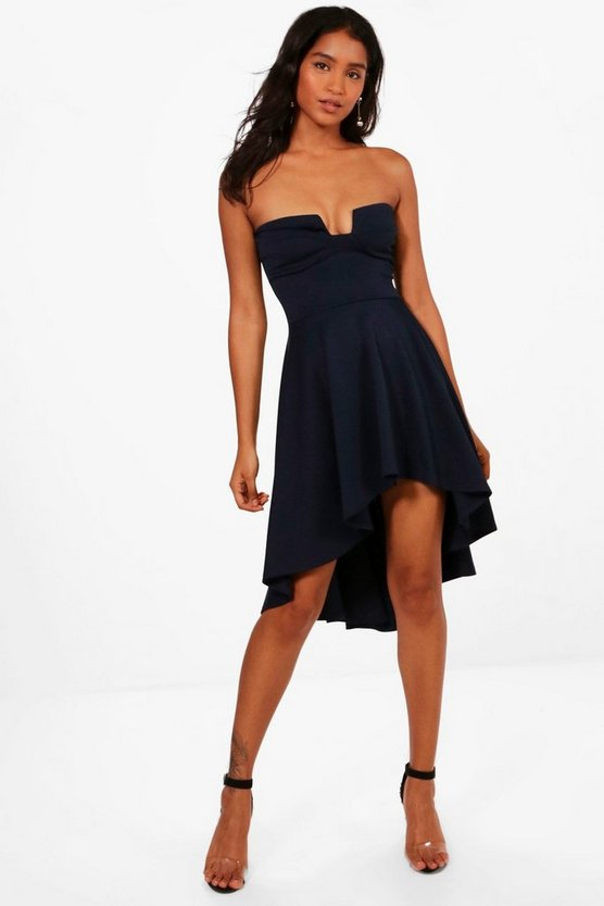 Structured Bust Bandeau Dip Hem Midi Skater Dress