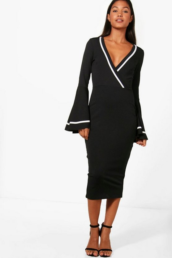 Ashleigh Wrap Flared Sleeve Midi Dress