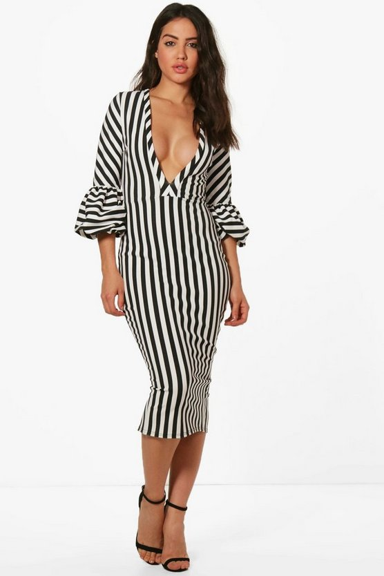 Sarah Plunge Stripe Puff Sleeve Detail Midi Dress