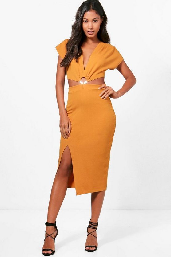 Victoria Plunge Ring Detail Fitted Midi Dress