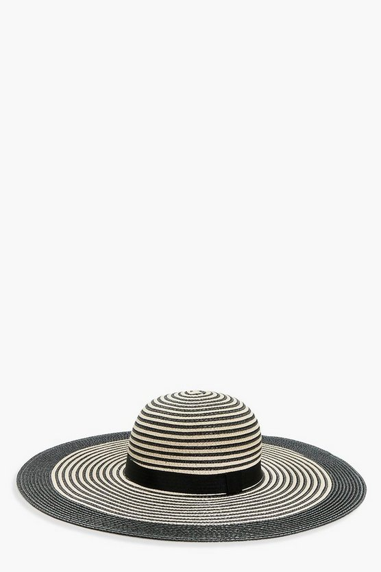 Lisa Mono Stripe Floppy Straw Hat