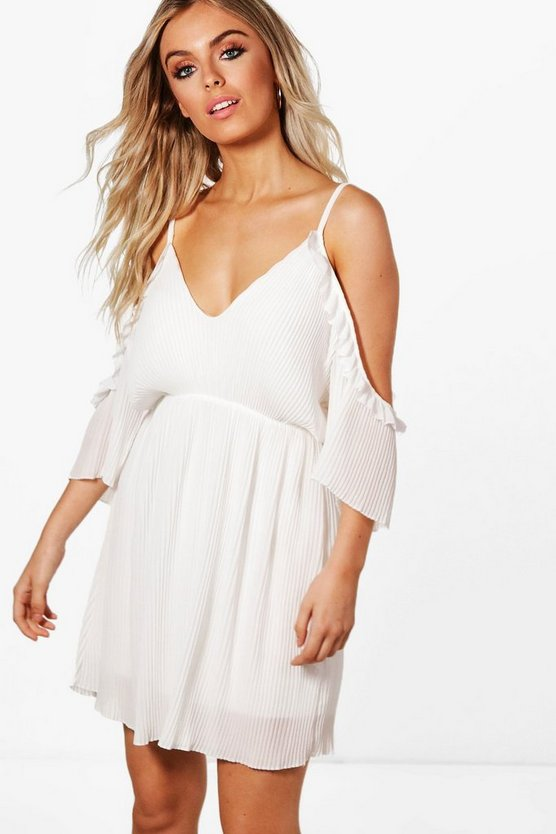 Freya Pleated Ruffle Open Shoulder Dress