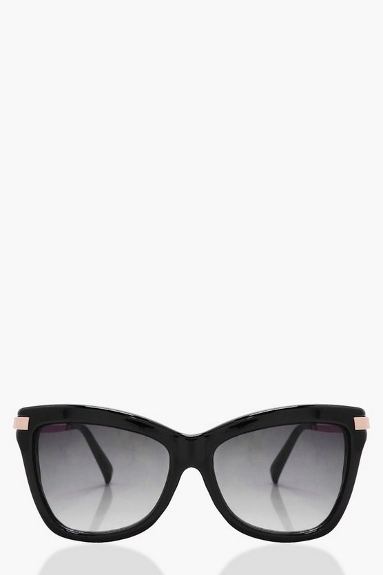 Amy Black Frame Oversized Cat Eye Sunglasses