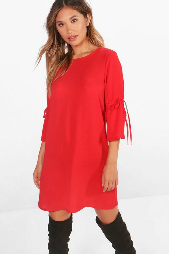 Emily Tie Sleeve Woven Shift Dress