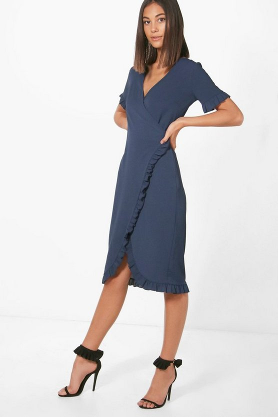 Ruffle Wrap Over Dress
