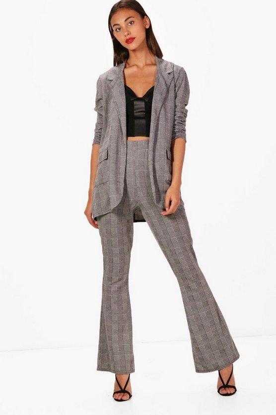 Olivia Check Kick Flare Trouser
