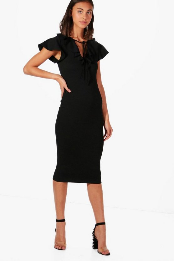 Natasha Frill Neck Midi Dress