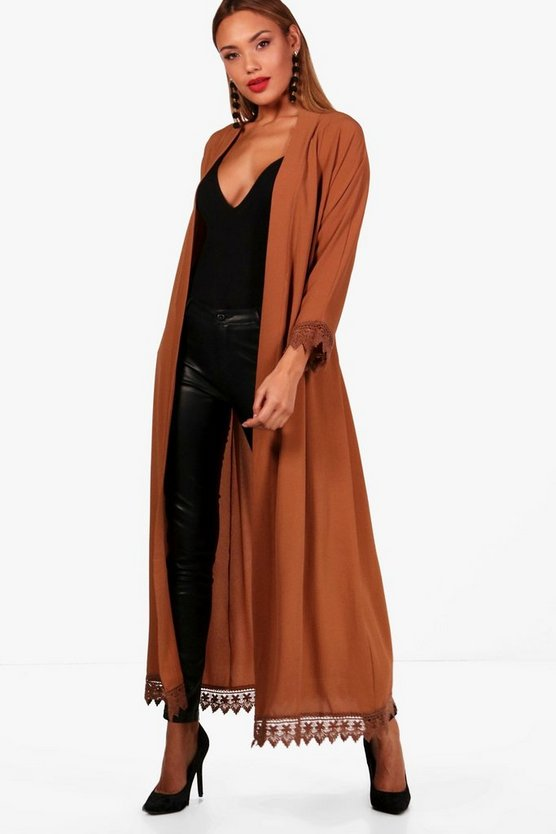 Rebecca Lace Trim Belted Duster