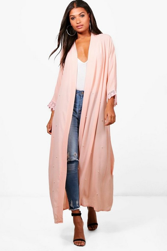 Shannon Pearl Embellished Belted Duster