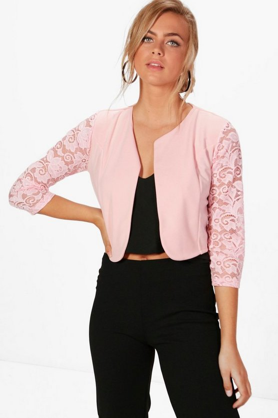 Alana Lace Sleeve Edge To Edge Jacket