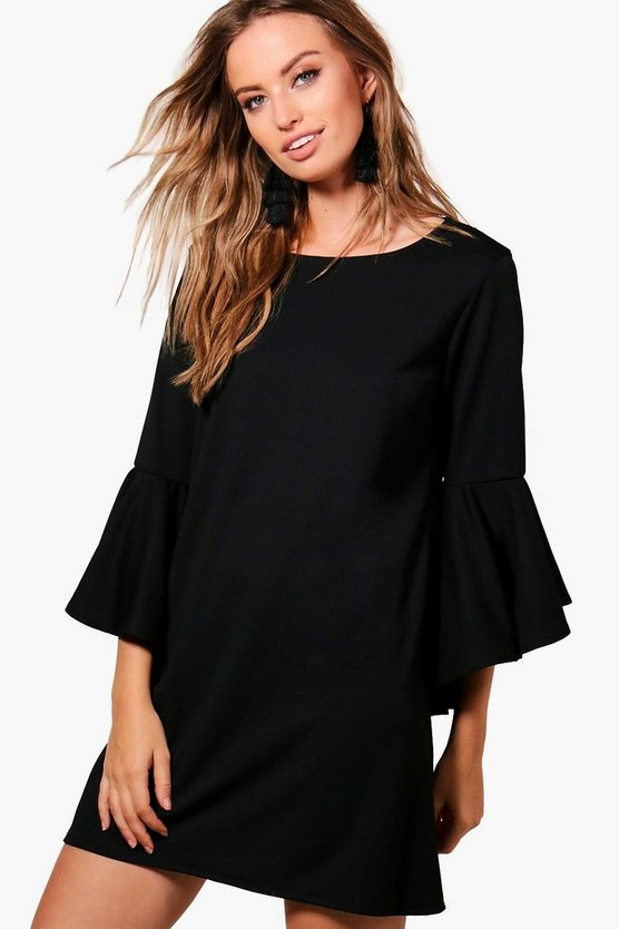 Harriet Tailored Flute Sleeve Shift Dress