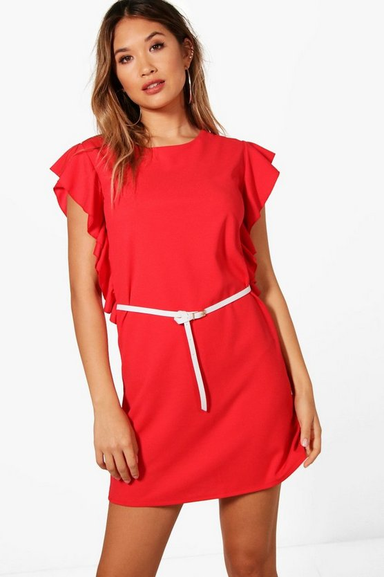 Tanya Frill Detail Belted Tailored Dress