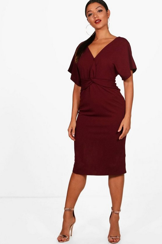 Emma Wrap Over Tailored Midi Dress