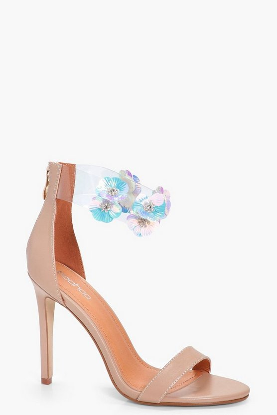 Poppy Floral Embellished Perspex 2 Part Heels