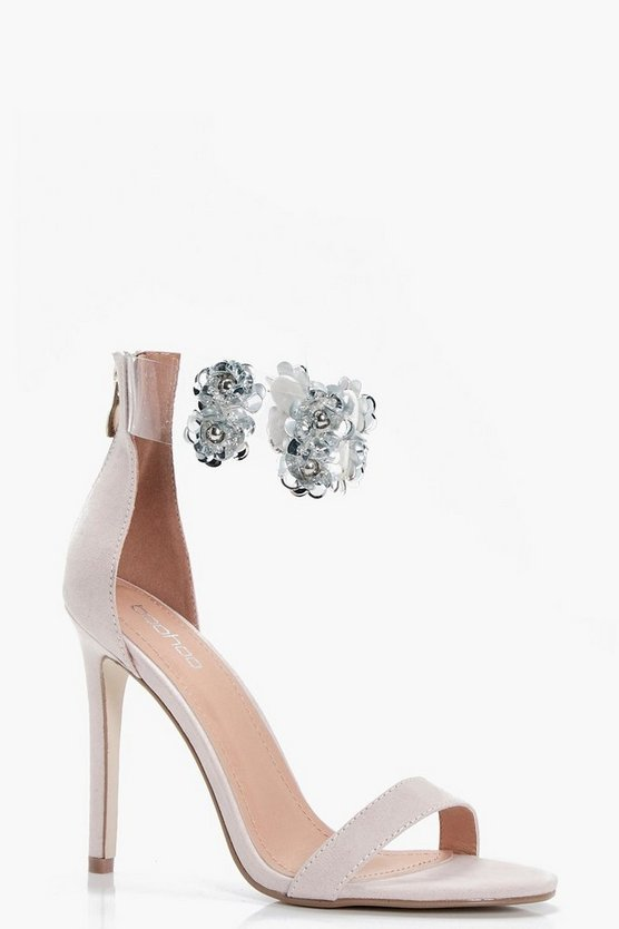 Mia Embellished Perspex Ankle Band 2 Part Heels