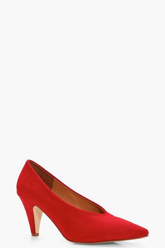 Pointed Toe High Vamp Cone Heel Courts