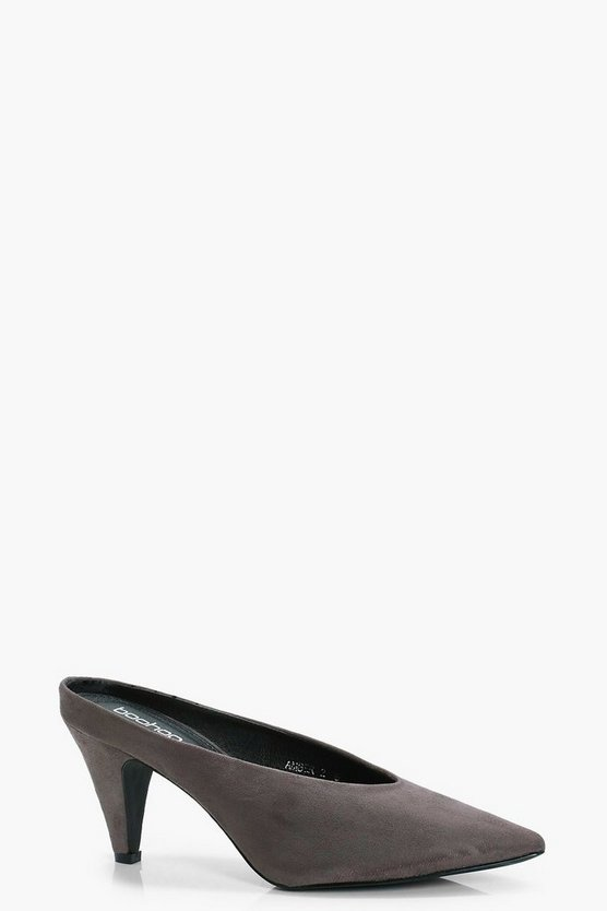 Emily Pointed High Vamp Kitten Mule