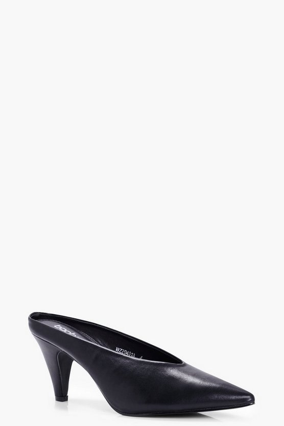 Jessica Pointed High Vamp Kitten Mules